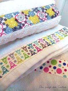 DIY customiser serviettes bain rubans Au pays des Cactus (a faire avec des restes de tissu)