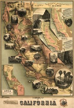 Shop California Panoramic Map Poster created by LanternPress. Personalize it with photos & text or purchase as is! California Pictures, California Map, California History, Vintage California, Southern California, Monterey California, Monterey County, San Diego, Rosarito