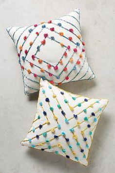 Suzette Tasseled Pillow @ Anthropologie Home Crochet Cushions, Sewing Pillows, Diy Pillows, Decorative Pillows, Throw Pillows, Pillow Ideas, Crochet Cushion Cover, Camping Pillows, Pillow Inspiration