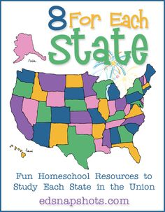 Eight For Each State US Geography. Elementary US Geography studies. Once a week we publish a collection of eight resources to use to study every state.