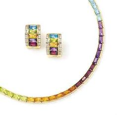 A multi-gem 'Rainbow' necklace and earrings. by H.Stern