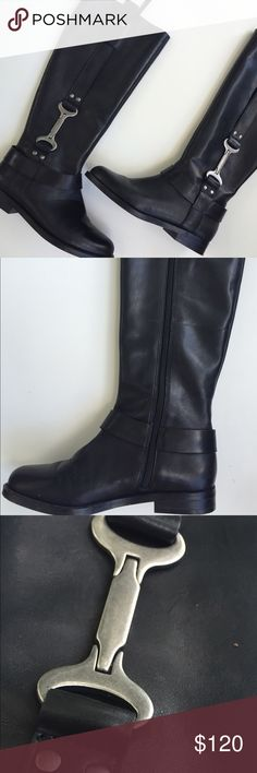 "Nine West Women's Avonna Riding Boot Size 5, New never worn in box.  Black leather riding boot has 1"" heel and shaft measures 15.5"" from arch Nine West Shoes Heeled Boots"
