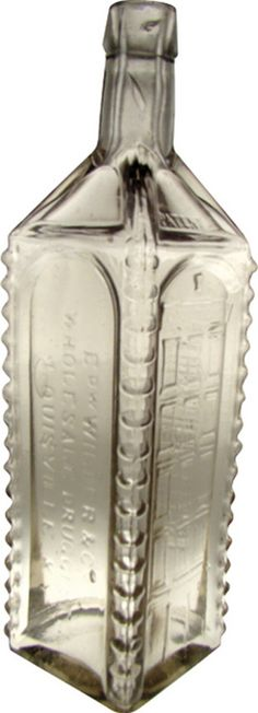 Edw Wilder's Stomach Bitters, Louisville KY, Clear, 5-Story Building. An Edw Wilder's Stomach Bitters clear or possibly lead glass Kentucky bitters bottle with embossed five-story building