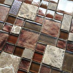 Sierra Glass Mosaic Tile Sheets Wall Shiny Gold Brown Beige Foil Effect