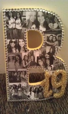 Glamour letters! I LOVE THIS SO MUCH!! (Im pretty sure the two letters on the bottom in glitter are an I and a G to spell big. Like a college big but Im not 100% sure) I still love this idea for a nursery or a little girls room!