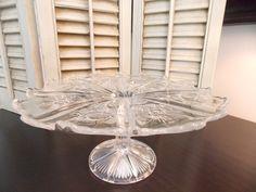 GLASS PEDESTAL Vintage Cake PLATE Distinctive Scalloped Rim and Floral Design on Etsy, $18.00