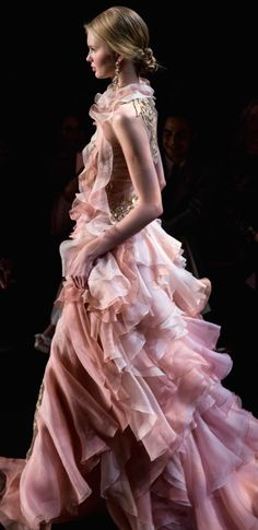 soft and charming ruffled gown