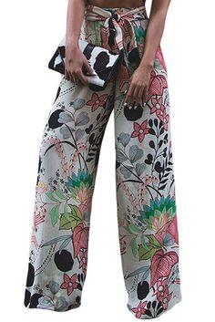 da417eda5af Queen Area Women s Floral Print High Waist Palazzo Wide Leg Boho Pants With  Belt Plus Size