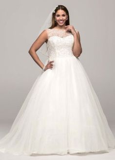 All eyes will be on you as you walk down the aisle in this stunning ball gown!  Cap sleeve tulle ball gown features ultra-feminine illusion neckline.  Bodice is adorned with beaded lace appliques.  Chapel train. Sizes 0-14.  Available in stores and online in Ivory.White available in stores for Special Order only.  Fully lined. Back zip. Imported. Dry clean only. To preserve your wedding dreams, try our Wedding Gown Preservation Kit.