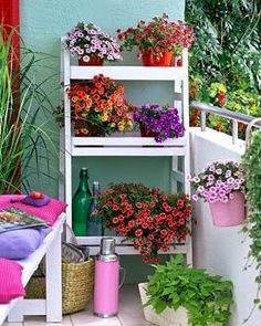 Shade plants on the back deck? Spice up your apartment balcony/patio with flower stands Ladder Shelf Decor, Balcony Flowers, Outdoor Flowers, Pot Jardin, Small Porches, Balcony Design, Balcony Ideas, Apartment Balconies, Patio Plants
