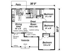 Ranch Style House Plan - 3 Beds 1 Baths 901 Sq/Ft Plan #18-1046 Floor Plan - Main Floor Plan - Houseplans.com
