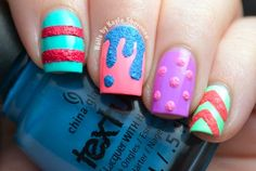 Nails by Kayla Shevonne: Textured Skittle Mani - China Glaze Texture & Sunsational Nail Art