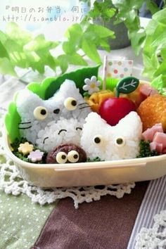 More Rice Totoro's! I am such a big fan of Totoro the japanese film.  When I see this meal it produces me two feelings one of them it's happiness and the second one it's sadness as I would feel so bad eating such a gorgeous thing.