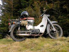 A beautifully rugged and well-ridden Honda Supercub