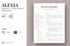 Modern Resume Design + Cover Letter Example + References + Tips. Curriculum for MS Word and Pages in Resume Templates on Yellow Images Creative Store