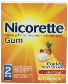 Nicorette Coated Gum, Fruit Chill, 2 mg, 160-Count - http://www.at-health.com/health-personal-care/health-care/smoking-cessation/nicorette-coated-gum-fruit-chill-2-mg-160count-com/ - #SmokingCessation