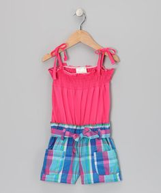 Take a look at this Pink Plaid Smocked Romper - Infant, Toddler & Girls by Longstreet on #zulily today!