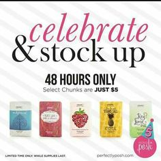 Stock up now on your favorite Perfectly Posh Chunk Bath Bars! They make awesome stocking stuffers. Limited time> 48 hours only $5 (select Chunks) Order @ Https://Poshandpure.po.sh