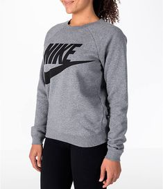 buy popular 357cf cbab5 Front Three Quarter view of Women s Nike Sportswear Rally Crew Sweatshirt  in Carbon Heather Black