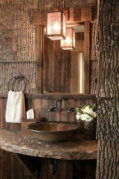Rustic Bathroom Home Design Ideas, Pictures, Remodel and Decor Cabin Bathrooms, Rustic Bathrooms, Lodge Bathroom, Wood Bathroom, Bathroom Ideas, Rustic Cabin Bathroom, Bathroom Lighting, Bathroom Modern, Camo Bathroom