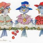 """This box of greeting cards from Crown Point Graphics includes 18 cards and envelopes. The cards are x The image is one of many in the artist's """"Bird Life"""" series. Victorian Bath, Crown Point, Three Birds, Out To Lunch, 50th Wedding Anniversary, Pretty Cats, Shape Design, Original Artwork, Greeting Cards"""