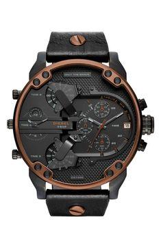 b647260e065c DIESEL® Mr. Daddy 2.0 Chronograph Leather Strap Watch
