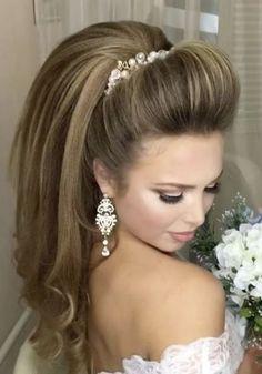 Best Ideas For Wedding Hairstyles : Featured Hairstyle: Websalon Wedding, Anna Komarova; Best Wedding Hairstyles, Pretty Hairstyles, Easy Hairstyles, Straight Hairstyles, Hairstyle Ideas, Hairdo Wedding, Wedding Hair And Makeup, Hair Makeup, Makeup Hairstyle