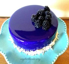 Blackberry Mousse Cake with Mirror Glaze | www.sayitwithcake.org #mirrorglaze