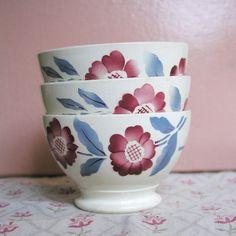 set of 3 french vintage small bowls -  3 petits bols anciens Digoin