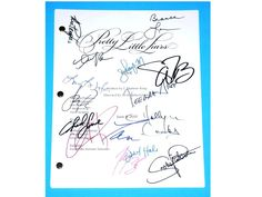 Pretty Little Liars TV Script Signed Autographed Ashley Benson, Lucy Hale, Troian Bellisario, Sasha Pieterse, Chad Lowe, Hollie Marie Combs