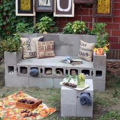 Cinder block outdoor couch