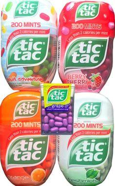 Tic Tacs 4 Pack Gift Set 200 Mints Inside Each Capsule Less Than 2 Calories Per Mint Flavors Include Orange, Fruit Adventure,freshmints,berry Cherry and Bonus Classic Grape Tic Tacs