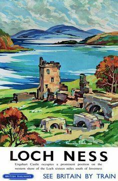 Vintage Railway Travel Poster - Loch Ness.