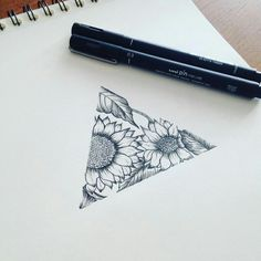 Geometric sunflowers tattoo