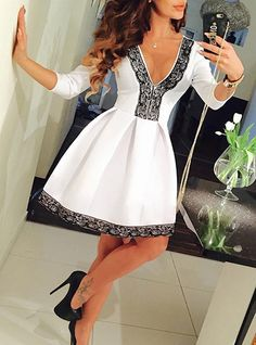 Black Lace Trim Fit and Flare Dress V Neck Three Quarter Length Sleeves