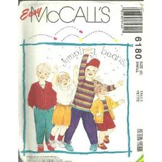 Childrens Unlined Cardigan, Top And Pants Or Shorts - Cardigan And Top For Stretch Knits Only (McCall's Sewing Pattern 6180, Size: 2)