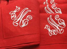 Monogrammed napkins with our 'Kate' monogram on hemstitch linen napkins. Red napkins for Valentines, July 4th and Christmas! http://www.bellalino.com/sferra-festival-linens.htm