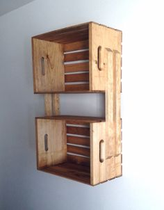 SALE Light Brown Wooden Crate Wall Hanging Shelving by CLDecor, $40.00
