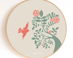 Dove and Tree Bird Silhouette Counted Cross Stitch Pattern Instant Download Abstract