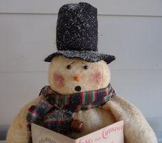 Primitive singing snowman prim Christmas decoration by ahlcoopedup