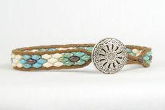 Bracelet de perles Super duo conception de fleur par CarolMade
