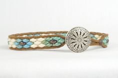 Super Duo Bead Bracelet Blue Green Single Wrap Bracelet Silver Button CarolMade