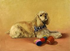 Cocker Spaniel With Toys Dog Print from Original Oil by PTarlowArt, $20.00
