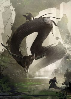 """Symbaroum RPG: """"The Lindworm is one of Davokar's most feared creatures. The few Ambrians who have encountered one and returned to tell about it describe them as ferocious but cunning, even as intelligent. Maybe there is some truth to the rumor that the Gaoia clan is secretly ruled by a Lindworm called Uncle Lint."""" (Image: Järnringen)"""