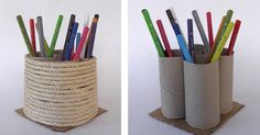 Make these easy pencil holders/ organizers using recycled toilet paper rolls, to store pencils, markers and small items.