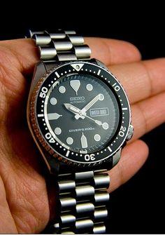 Seiko SKX171 w/ SKX007 bezel, Black Samurai hands, President bracelet