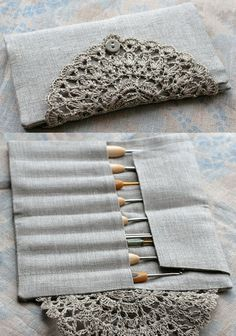 Linen Crochet Hook Case Holder Organizer by namolio on Etsy Crochet Car, Crochet Gifts, Cute Crochet, Sewing Tutorials, Sewing Patterns, Crochet Patterns, Crochet Hook Case, Crochet Hooks, Fabric Crafts
