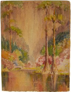 May Paine (American, 1873-1941), Cypress Trees, Watercolor on Paper, Double-sided