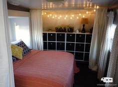 remove closet doors and add curtains and string lights. Really opens up the bedroom