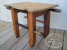 """Vintage 18"""" carpenters clamps and an old bread board make a perfect sitting stool or coffee table.  Signature ReFind Salvage."""
